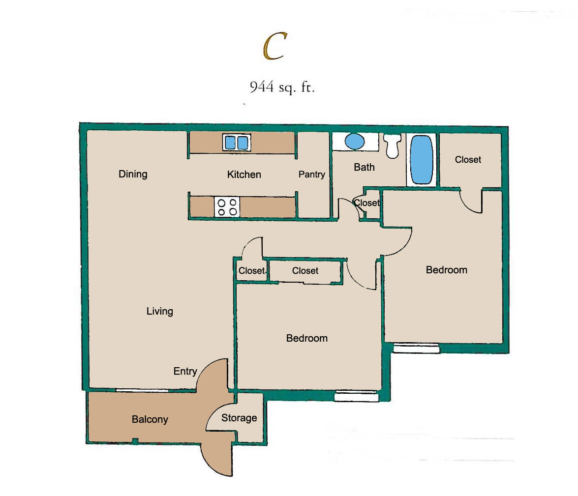 944 sq. ft. C floor plan