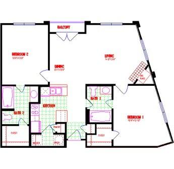 981 sq. ft. floor plan