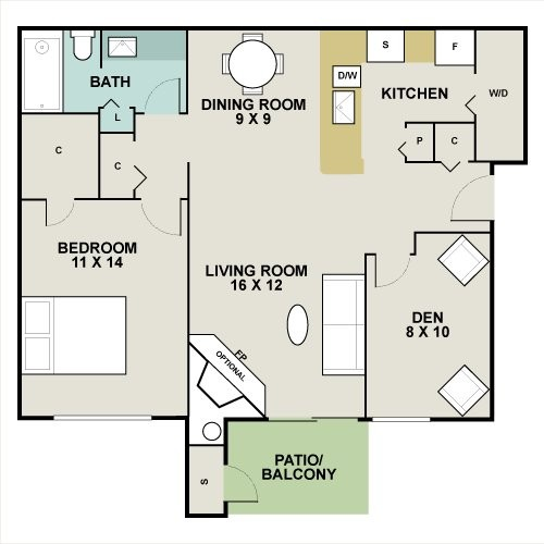 844 sq. ft. Aspen floor plan