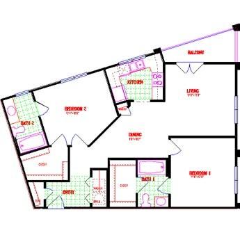 1,024 sq. ft. floor plan