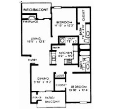 1,076 sq. ft. H floor plan