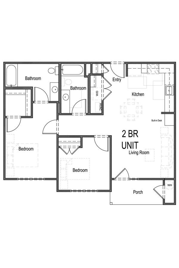 957 sq. ft. B1 60% floor plan