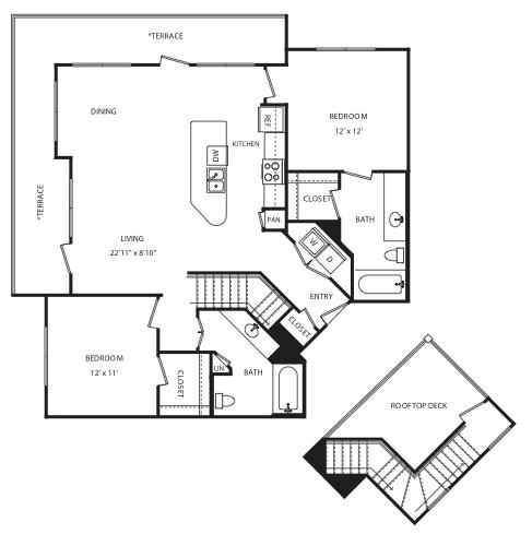 1,137 sq. ft. B7 floor plan