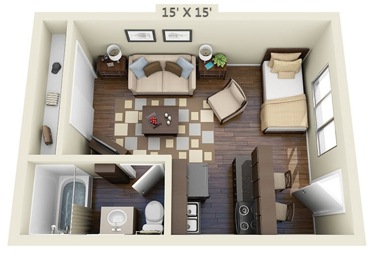 428 sq. ft. EFF floor plan