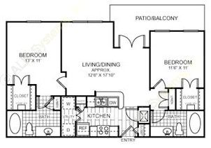 947 sq. ft. to 1,008 sq. ft. B1 floor plan