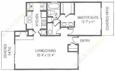 812 sq. ft. RO floor plan