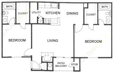 945 sq. ft. E floor plan