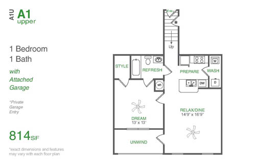 814 sq. ft. A1U floor plan