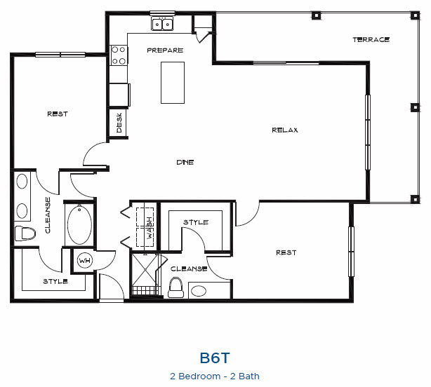1,578 sq. ft. B6t floor plan