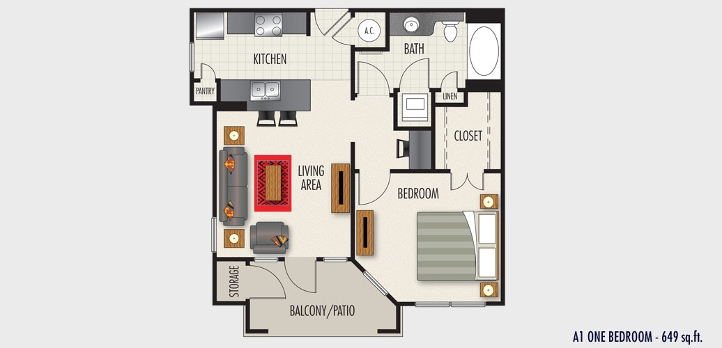 649 sq. ft. to 741 sq. ft. A1 floor plan