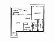 741 sq. ft. A floor plan