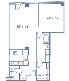 1,089 sq. ft. A9 floor plan