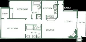 1,028 sq. ft. B3 floor plan