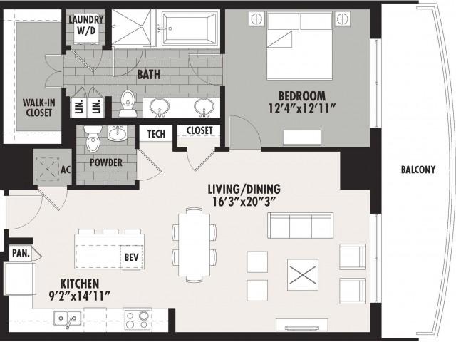 1,024 sq. ft. A9 floor plan