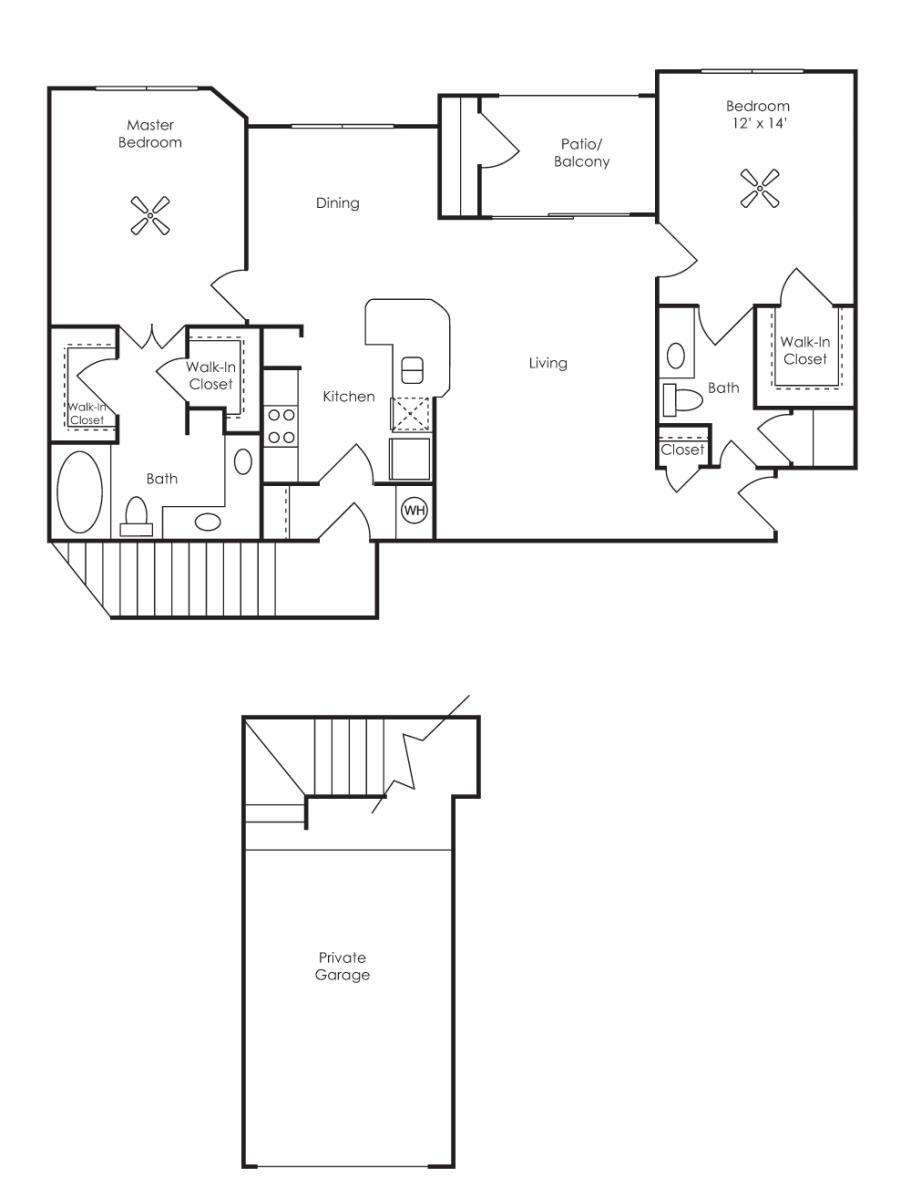 1,109 sq. ft. Lorraine (B2) floor plan