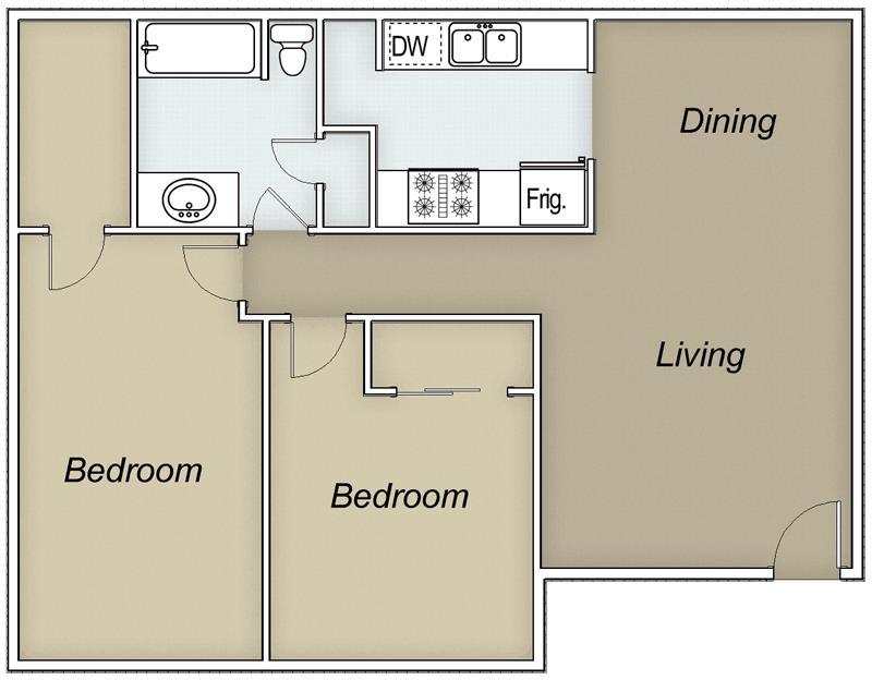 905 sq. ft. floor plan
