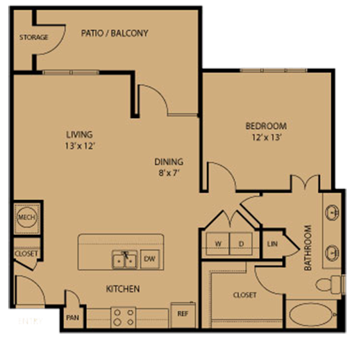 879 sq. ft. Gruene floor plan