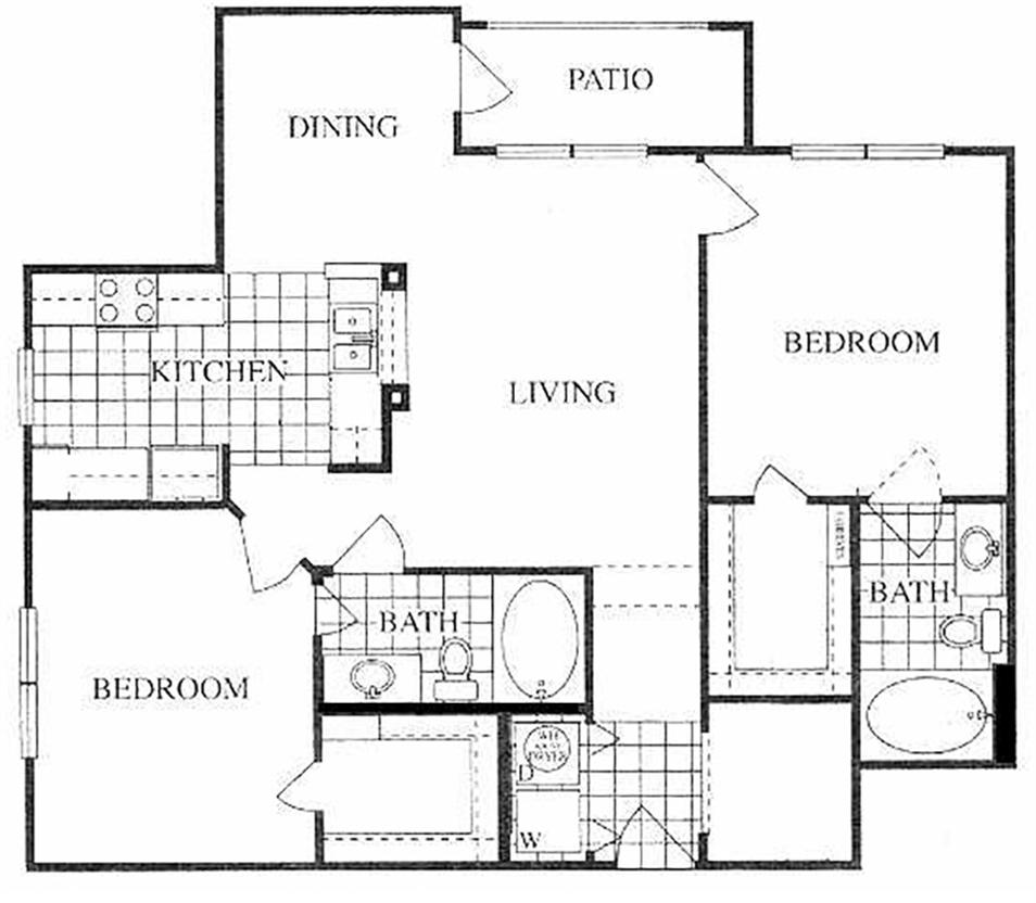 1,095 sq. ft. Briarwood/F floor plan