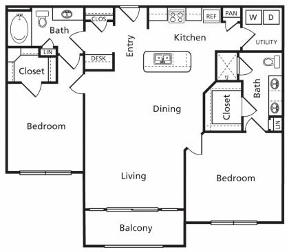 1,186 sq. ft. D floor plan
