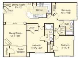 1,351 sq. ft. Palencia floor plan