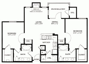 1,039 sq. ft. B2 floor plan
