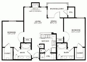 1,039 sq. ft. B2 floor plan