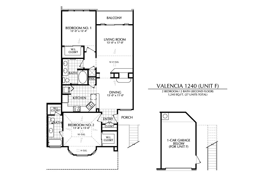 1,240 sq. ft. F floor plan