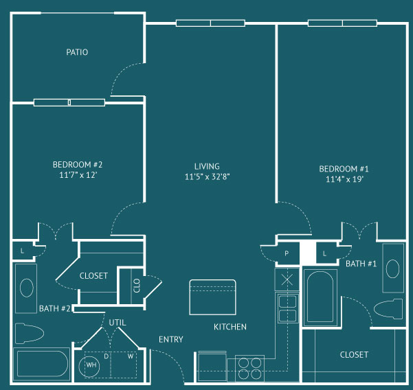 1,076 sq. ft. B4 floor plan