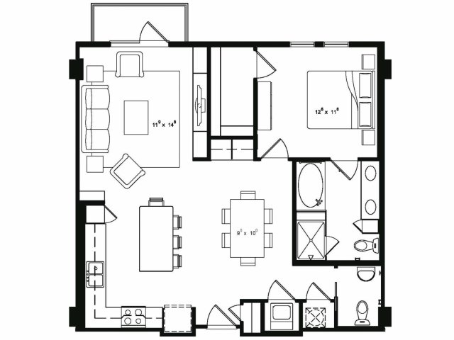 972 sq. ft. A5 floor plan