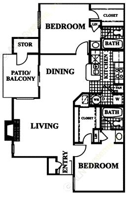 948 sq. ft. Casablanca floor plan