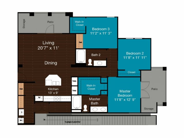 1,402 sq. ft. C1 floor plan