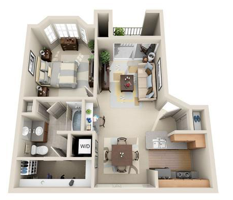 678 sq. ft. Athens floor plan
