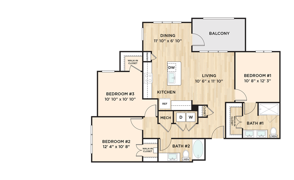 1,266 sq. ft. C1 floor plan