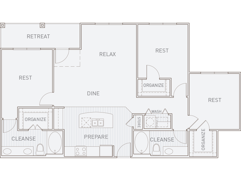 1,405 sq. ft. C1-T floor plan