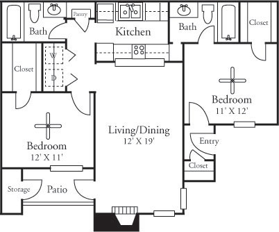 887 sq. ft. B1/Classic floor plan