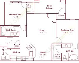 1,052 sq. ft. B1 floor plan