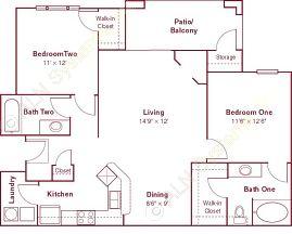 1,052 sq. ft. B1 floor plan