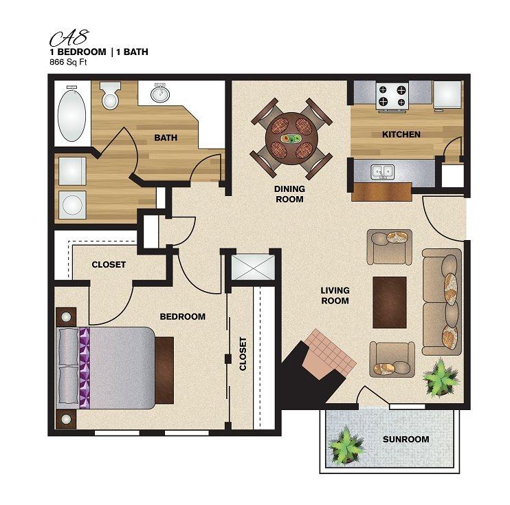 866 sq. ft. A8 floor plan