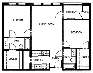 986 sq. ft. C2B MKT floor plan