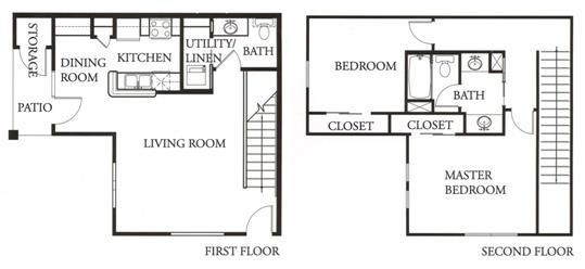 1,043 sq. ft. Topaz floor plan