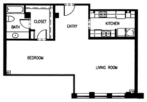 846 sq. ft. H3 MKT floor plan