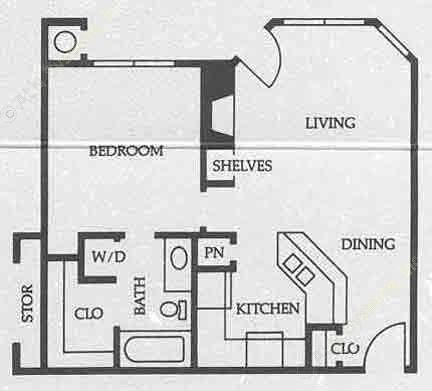 697 sq. ft. A3 50% floor plan