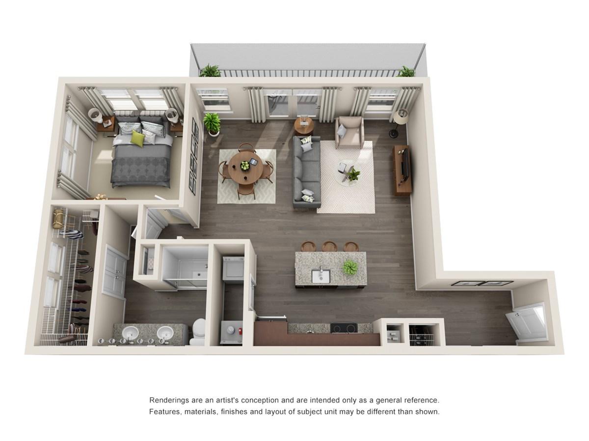 1,016 sq. ft. A8 floor plan