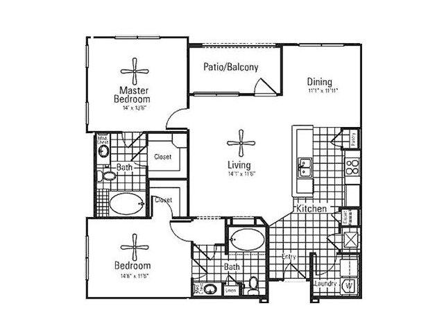 1,242 sq. ft. floor plan