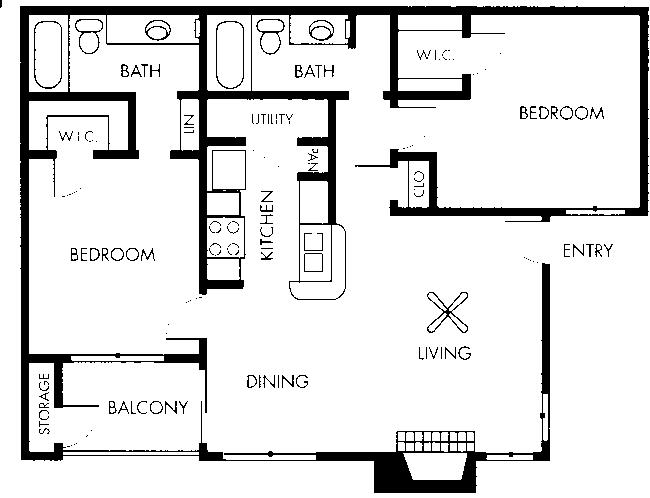966 sq. ft. Renoir floor plan
