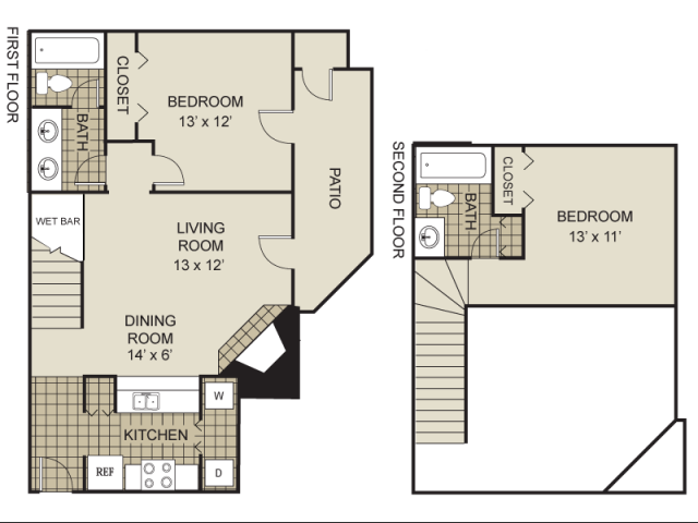 1,000 sq. ft. B4-A floor plan