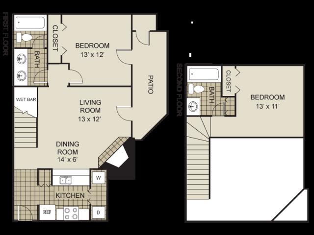 1,000 sq. ft. B4-A floor plan
