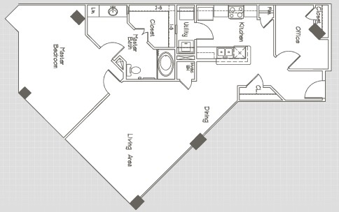 1,170 sq. ft. A4 floor plan