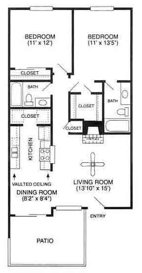 980 sq. ft. Summit/B floor plan
