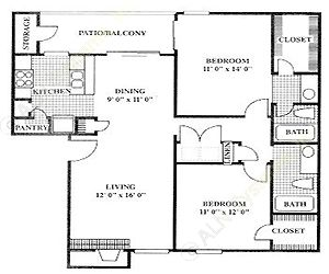 995 sq. ft. B2 floor plan